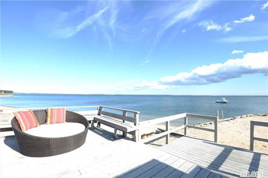 Exquisite Bayfront Retreat With Spectacular Waterfront Views And Beautiful Sunrises In Hampton Style Setting, Completely Turnkey Fully Winterized Cottage With Gas Fireplace. Amazing Location In Laurel And Huge Seasonal Rental Income Potential! Close To Jitney, Town And Wineries!