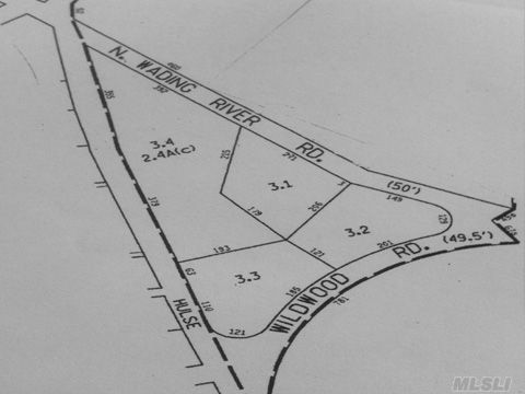 Subdivided 5.2 Acres Located Near Beach And Wildwood State Park In North Wading River.  Commercial Lot Is 2.45 Acres And 3 Other Lots Are .92 Acres. Beautiful Proerty With Great Potential