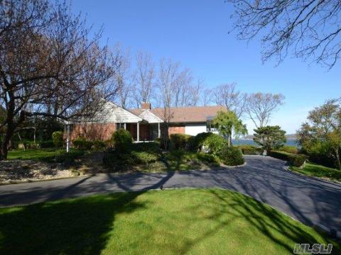 Fabulous 180'Waterfront With Views To Connecticut! Lovely 4 Br Ranch, Light And Bright, One Acre On Cul-De-Sac, Harborfields Sd#6.