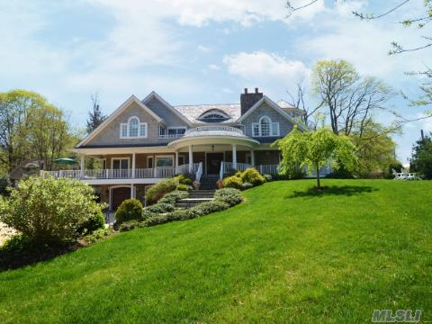 Impeccable John Ross Design. Cedar Shingle Style. Every Amenity. Cedar Roof. Year Round Waterviews.Sunrise/Sunset Mahogany Decks Teak Floors. 2 Gas Fireplaces. Lower Level: Theatre Rm, Game Rm. Dumbwaiter. Meticulous Craftsmanship & Finishes.*3Rm Guest Cottage W/Bth + W/D. Prof. Landscaped. Radiant Heating Kit And Master Bath