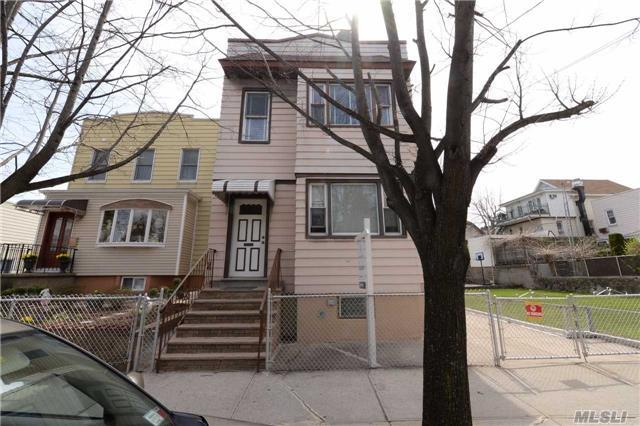2 Family House In Maspeth On 23X100 Lot,  With Additional Adjacent Vacant Land On 40X100, Total 63X100. 6 Garages In The Back. Zoning R4-1. Ideal For Multifamily Development Site.