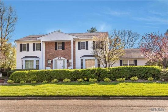 Loc, Loc + Lovely Curb Appeal. Nassau/Suffolk Border. Extended5 Br Ch Col .Oversizd 20X23' Fr + Florida Rm Extension. 8 Yr Old Wood/Granitess Kit.Wonderful Outside Entertaining Area W/ Viking/ Granite Cooking/Service.Gunite Pool. Rm For Sports Ct. Loads Of Play Area.Huge Fin Basement. New Circular Drive