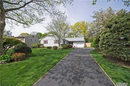 Prime Location!!Charming L Shape Ranch Offers Eik, Lr, Dr, Family Rm, Mbr W/Fullbath, 2 Add'l Brs, Fambath, Upgraded Elec 150Amps, Lndryrm , Main Level, 1 Car Garage W/Attic New Architectural Roof, Some New Windows/Doors/Sliders, Beautiful Quiet Yard W/ Cambridge Paved Patio And Walls, 8 Zone Igs,  House Address Is St James Yet One Block From A Smithtown Address.