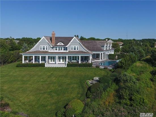 New England Seaside Shingle-A Classic Synergy Of Scale, Materials, Land And Setting. Farrell Building Co. Sweeping Water Views. 5 Br, Custom Millwork And Cabinetry. Eyebrow Windows, Vaulted Ceilings And Architectural Detail Throughout. Beautifully Appointed Kitchen And Baths.Heated Gunite Pool & Spa. Exquisite Landscaped Acre With A Gentle Sloping Path To Beach.Sunsets.