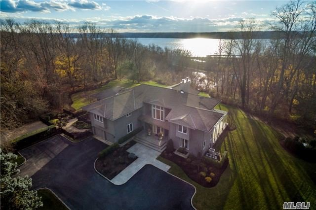 Wow!..Expansive, Unobscured Western Water Views; Very Private, Long Drive Leads To This Custom Built Home. Views From Nearly Every Room;Soaring Ceilings, Walls Of Glass, Radiant Heat, Impressive Details... Walk Out Lower Level W/Its Own Suite, Addt'l Br's, Rec Room, & Exercise Rm. Perfectly Manicured Grounds Bordering Village Parkland's, Beach/Mooring Nearby, Csh Schools..