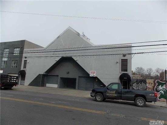 Updated Stucco Free Standing Building. 1st Floor With Two Garage Bays And Interior Warehouse/Industrial Space (7500 Sqft). 2nd Floor Office Space (7500Sq Ft). 3rd Floor 5000 Sq Ft Of Roof Top Parking. Prime Lic Location Close To Trains & Buses.