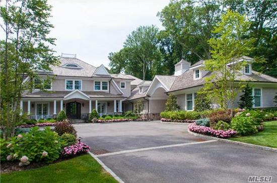 Spectacular Gated Hamptons Traditional Col W/ Stunning Transitional Aesthetics. Smart Home Tec W/9 Security Cams. Built 2012, Fully Reno'd 2014. Extns Millwrk, Incred Kitchen-All Thermador W/ Carrera. Wideplank & Herringbone Floors, 6 En-Suite Br's, 10' Coff Ceillings, Wine Rm, Gym, Full House Generac. Pool House W/Kit, Full Bath. Plus 1-Br Guest Cottage. Close To Beach.