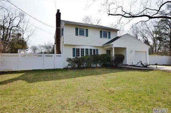 Northport/E. Northport Sd#4, Quiet Residential Area, Lovely Immaculate Colonial, Level -1/2 Acre Fully Fenced/Deck/Agp/Igs/ Large Shed, Potential To Add Mst Suite Above Garage,  Kit/Wood Cabinets/Ss Appliances(2 Yrs)Wood Floors Throughout (Except Den)Enclosed Porch (Unheated) Fpl/Custom Mantle & Cabinetry, Security System, Brand New Hwh, Gas Heat, Updated Vinyl Siding & Windows
