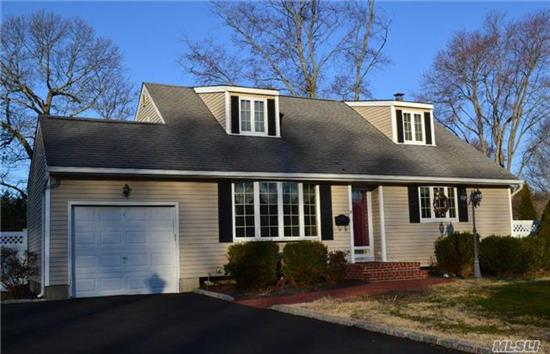 Beautiful 3 Bdrm Cape Located Mid Block In Lovely Neighborhood, Offers Spacious Family Rm With Fpl, 2 Full Baths, Din Rm W/Hrdwd Flrs, Many Andersen Windows, Full Basement- Partially Finished, Above Ground Oil Tank In Bsmt, Fenced Yard With Waterfall Garden, Low Taxes, In Renowned Smithtown Sd, Move In Ready!