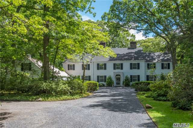 A Rare Offering- Gracious & Timeless 7 Acre Estate. This Classic Residence Offers High Ceilings, Large Rooms, Important Moldings. Two Beautiful Sunrooms. Master Suite W Frplc Dressing Room & Two Bths. 2 Brs W/ Fplcs. Elevator To 2nd Flr. Separate Quarters Over 3 Car Gar, , Ig Pool, Tennis Court-Green House, Possible Subdivision. Beach & Mooring (Dues Req.) Sd#2Csh