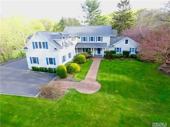 A Grand And Immaculate Traditional Colonial W/Att 3-Car Garage Situated On 2 Flat Bucolic Acres In Northport Village. Well Thought Out W/A Mstr Suite On Each Level, A Jr. 2-Rm Suite, Hi-End Eat In Kitchen With Breakfast Room, Moldings And Hardwood Floors Throughout, Covered Front Porch, Enclosed Sunrm, Cvac. Close To The Village, Beaches, Golf And Pkwy. Not To Be Missed!