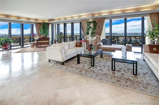 Magnificent 6, 444 Sq Ft Penthouse With Spacious Wraparound Terraces & Sweeping Views Of The Ocean, Biscayne Bay, & The Entire Miami Skyline. This Opulent Unit Features 3 Bedrooms, 4 Baths, Powder Room, Cedar Wood Dry Sauna, Elegant Office & Staff Quarters. Carefully Appointed Features Include: Beautiful Updated Kitchen, Expansive Master Suite, Marble Floors, Custom Built-In Millwork, Recessed Lighting, Tray Ceilings & More. Premiere Building Offers Top-Notch Services & A Renowned Private Restaurant.
