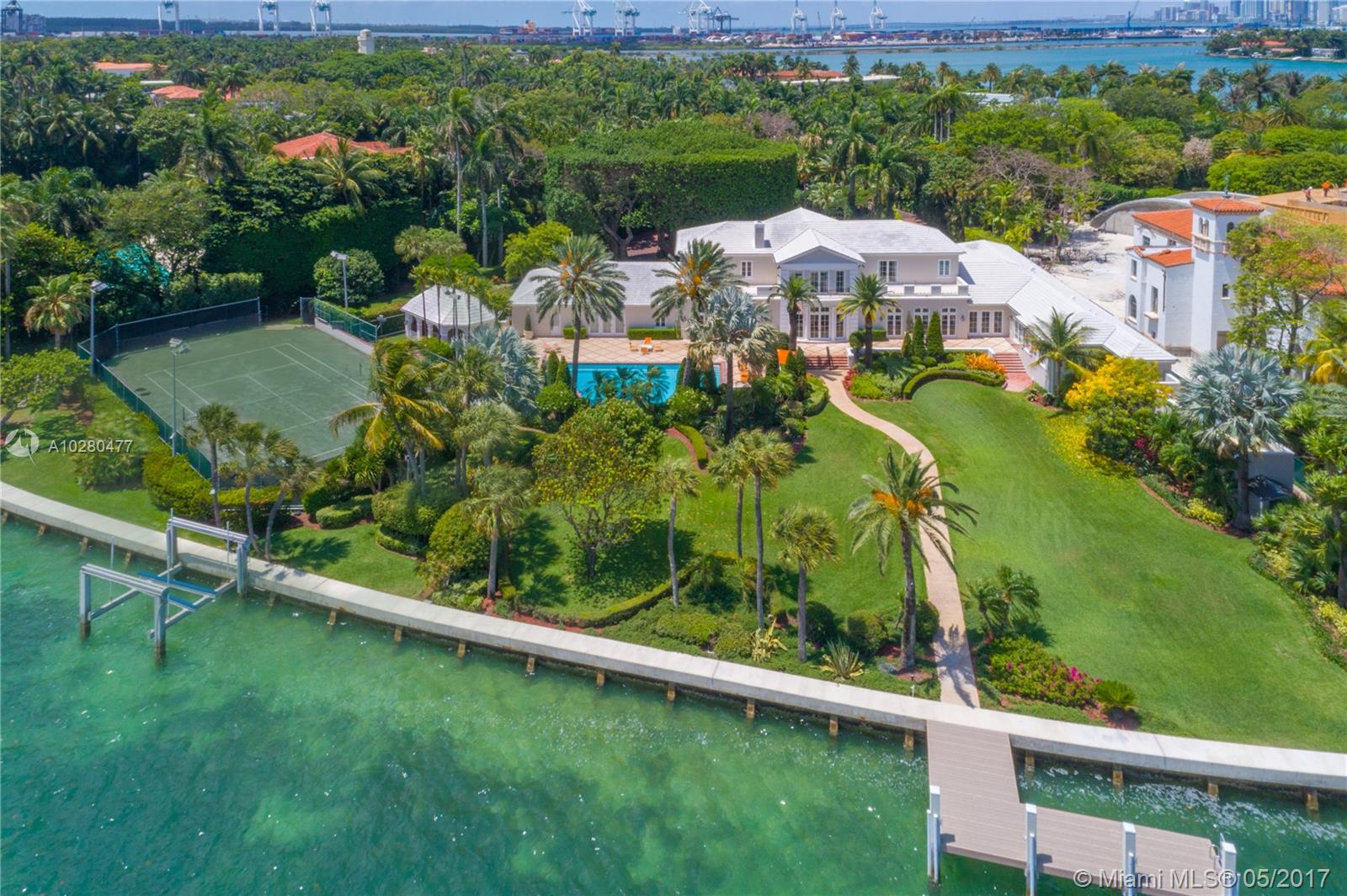 A Rare Opportunity To Own This Unique 1.85 Acre Estate On The Prestigious Star Island, On The Market For The First Time In 44 Years! This Premiere Estate Situated On The Most Sought After North Side Of Star Island Offers Unparalleled Unobstructed Wide Open Water Views Of Biscayne Bay. This Grand 7 Bd, 7.5 Ba Residence Is Located On A Spectacular 80, 664 Sf Lot, Boasting 327 Feet Of Waterfrontage. Take In Sweeping Ocean Breezes From The East Throughout The Expansive Grounds, In The Sparkling Pool, Or Out On The Lighted Tennis Court. Enjoy Living In One Of 34 Homes On This Elite And Exclusive Island Paradise.
