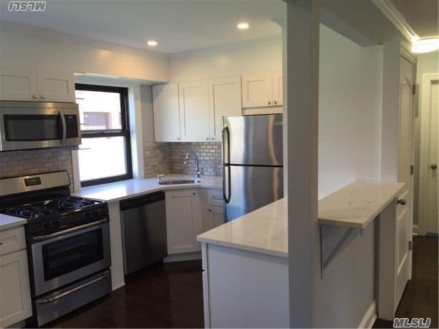 Rare Treasure Beautifully Fully Renovated; A Must See For All Co Op Buyers, None Like It @ Clearview. Bright & Sunny Open Floor Plan Corner Unit W/ Wood Floors. New Eat In Kitchen W/ New Stainless Steal Appliances & Breakfast Bar. Laundry Rm. New Electric & Plumbing. Close To All: Sd #25 Ps 209/194, Express Bus To Manhattan & Flushing, Lirr, Golf, Shopping, & Parks.