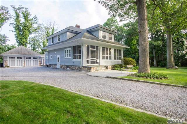 Quintessential Village Colonial. Charming Screened-In Porch, Coffered Ceilings, Wood-Burning Fireplace, Mouldings. Huge Usable Property, 1 Minute To Main Street. In-Ground Pool, Pool House W/Full Bath, Winter Water Views, Detached 2.5 Car Garage. Modern Amenities Include Cac, Updated Kitchen & More! Must See!