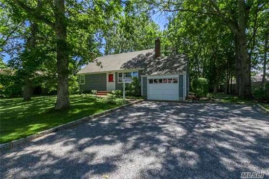 Lovely 3 Bdrm 2 Bath Cape On Quiet, Private Street. Living Rm W/Beautiful Brick Fireplace. Gleaming Hardwood Flrs Thru-Out. Formal Dinning Rm, Bonus Sitting Rm/Office, Updated Baths, Updated Electric, Newer Cesspools, Newer Roof. Amazing Property For The Nature Lover W/Oversize Backyard. Smithtown Schools.