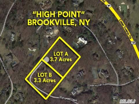 Outstanding 3.73 Acre Parcel Situated On One Of The Highest Points In Brookville.1/4 Mile Private Rd. To Be Maintained 50/50 By These Two Residences. School Bus Will Pick Up In Front Of House.