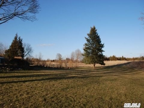 Private,  Quiet 1.2 Acre Lot In Beautiful Historic Jamesport.  Flag Lot With Designated Driveway Affords Large Flat Building Area,  While Lending Itself To  Beautiful Views Of Jamesport Vineyards.  Zoned Rural Corridor Allowing One/Two Family Housing.  Perfect For Investors,  First Time Home Builders.  Walk To Town.  Don't Miss This One ! Special Piece !