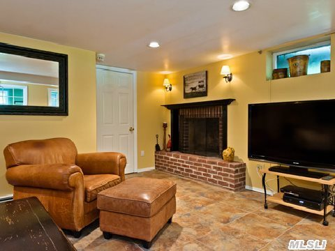lower level family room/fireplace