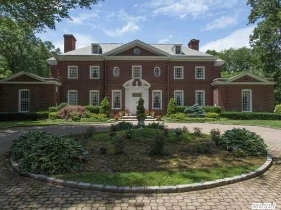 Gatsby Masterpiece Work Of John Russell Pope Of Tiffany And Caumsett--13'Ceilings-Majestic Moldings, Murals, Brick Walled Gardens 30 Miles From Nyc On Flat Useable Acreage. **Taxes W/ Star Exemption- $65, 061.56
