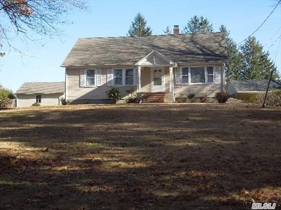 Cape Home In Good Condition,  House Elevated 16 Ft. Above Road; 2 Car Det. Garage,  Gorgeous 1.4 Acres,  Great Starter Home Or Full Time Occupancy,  Can Be Horse Property Or Agriculture.