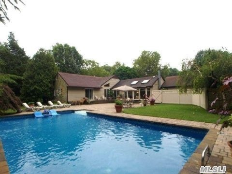 Sprawling Ranch On Beautiful 1.25 Acre Property On Quiet Hfsd Street. Great,  Bright Fr W/4 Large Skylights,  Beautiful Pool W/Huge,  New Paver Patio. Come To Your Own 'Field Of Dreams'.