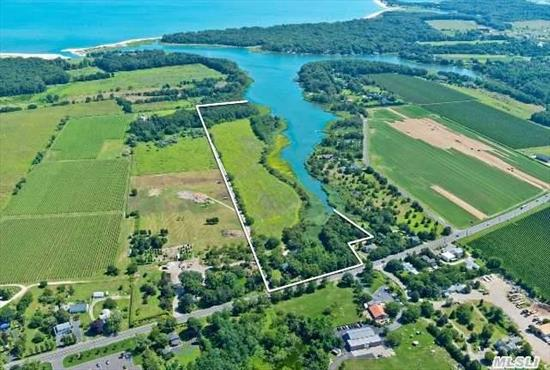 Peconic: Richmond Creek Estate - Extraordinary Offering - 25+ Acres W Rare 2, 000 Ft Waterfront On Richmond Creek,  Stunning Vistas,  Natural Tranquility.  Includes 1.8 Acres With 1900'S Farmhouse W Original Detail,  Great Barn & Outbuildings Adjoining 23.82 Acres With Development Rights Intact. Potential Subdivision To Create A Waterfront Compound,  Farm Or Development Project