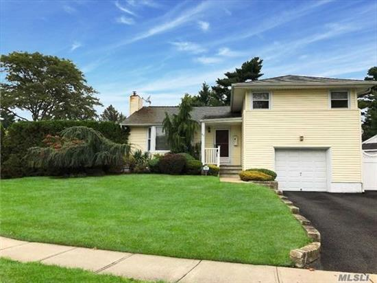 Move Right Into This Bright Sunny Split Level Home. Huge Den, Beautiful Living Room W Fireplace, Gorgeous Fenced In Country Club Backyard W/ Sparkling In-Ground Pool And Jacuzzi. Large Finished Basement, Cac, Wood Floors, Igs, Over-Sized Property, Perfect Mid-Block Location... Jericho Schools... Must See!!!