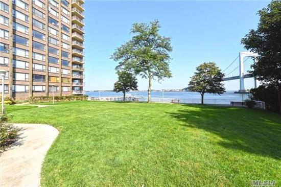 One Bedroom (Possible 2nd Bedroom), One Bath With Large Rooms, Wood Floors And Ample Closet Space And Renovated Kitchen And Bath, Apartment Is On A High Floor In A Full Service Building W/Laundry On Each Floor, 24/7 Security, Doorman, Garage Attendent. Spectacular Throggs Neck Bridge & Water Views.