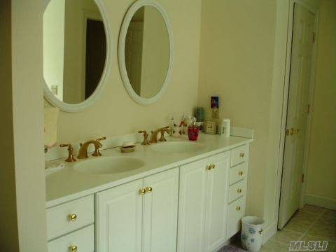 MBR bath with double sink, Jacuzzi tub, separate shower