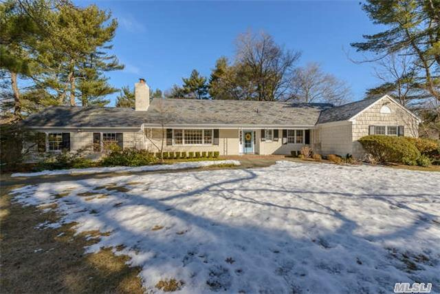 Bright, Sunny Custom Built Ranch Faces South, Sits On Level 2 Acres W/Mature Plantings & Perennial Garden In A Private Cul-De-Sac Setting. 4 Bdrms, 3.5 Bths, Living Rm W.Fireplace, Dining Rm, Heated Sunroom, Library/Den, Hardwood Floors Thru-Out, 2 Car Attached Garage. 2nd Floor Walk-Up Is Feature For Future Expansion. North Shore Sd#1. Close To All Gold Coast Amenities.