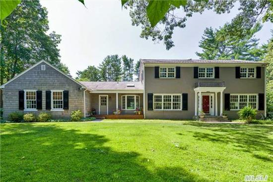 Charming Center Hall Colonial Exudes Country Charm. Great Home For Entertaining. Lush Perennial Gardens With Specimen Plantings. Custom Built Deck With Outdoor Cooking Area And Bar Overlooks Provincial Gardens. Professionally Built Fire Pit Area. Inviting Gunite Pool Set On Flat Open Lush Grounds. Two Storage Sheds. Don't Miss This Truly Special Home! A Must See!