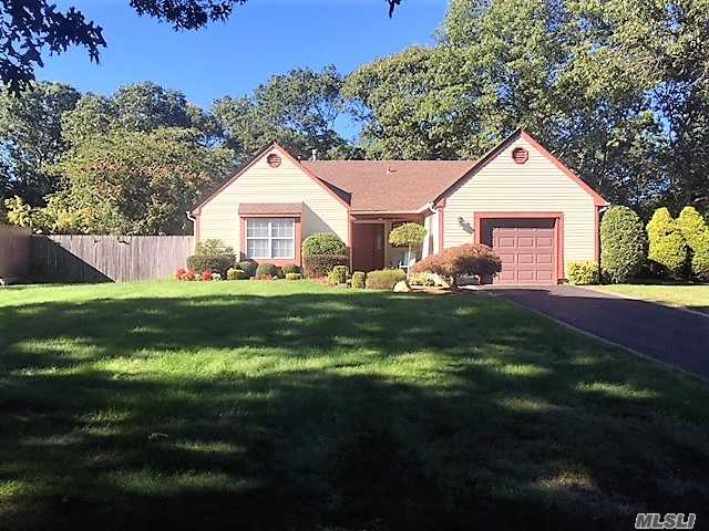 Fabulous, Light & Bright 2 Bedroom, 2 Full Bath Ranch With Eat-In Kitchen W/Oak Cabinets, Granite Counters, & Ceramic Tile, Cathedral Ceilings, Large Family Room, New Heating System & Central Air Conditioning System, Beautifully Landscaped .40/Acre With Brick Paver Patio & Walkway, Brick Lined Driveway, A Must See!