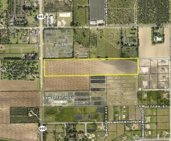 Fabulous, 15 Acre M/L Vacant Rock Land Lot Fronting On Much Sought After, And Major Transportation Corridor, Krome Avenue, With Daily Traffic Counts Of 20, 000+, Inside The Udb, Currently Zoned Agricultural, But Miami-Dade County Master Planned Residential. Potential Agricultural Uses Include: Row Crop Farming, Groves, Fish Farm, Bed & Breakfast, Packing House, Farm Stand, Commercial Wholesale & Retail Nursery, Group Home, Winery Or Brewery And More. Owner Will Consider Financing.