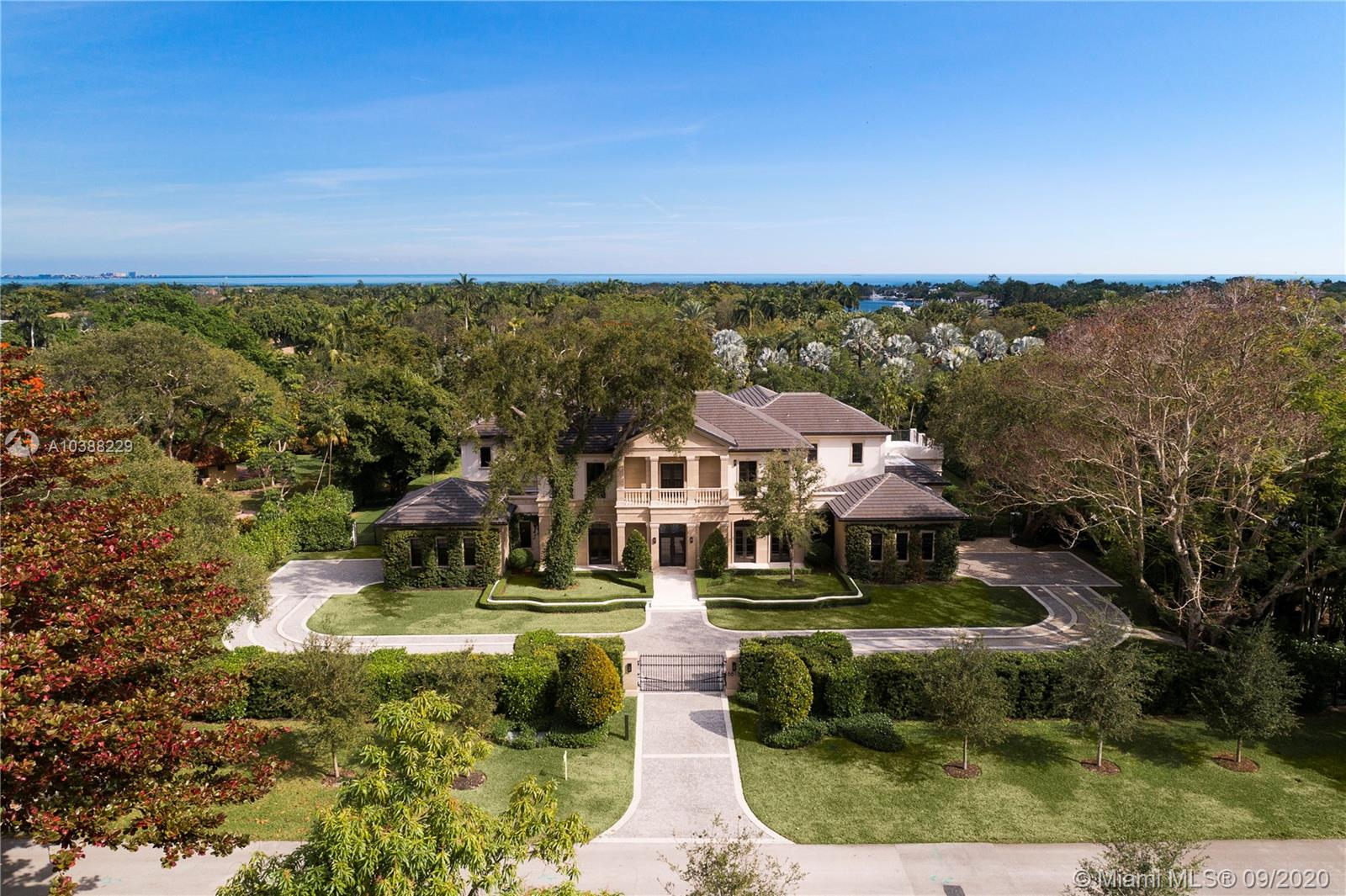 Set Perfectly On A 50, 000Sf Waterfront Lot In Prestigious And Gated Gables Estates, This 2017 Classic Palladian Home Offers The Perfect Backdrop For Either Lavish Entertaining Or Cozy Family Affairs.In The 12, 839 Sf Home, One Finds A Theater, Large Family Room, Gourmet Cook+Ógé¼Gäós, Eat-In Kitchen, And Master Suite With His And Her Lavish Baths And Dressing Room Closets; 4 Car Garage, Covered Terraces With A Cabana, Summer Kitchen And Sparkling, Oversized Pool, Serve As The Centerpiece Of The Rolling Back Lawn.