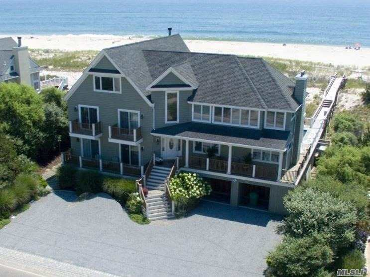 Resort Like Living On 92' Of Unobstructed Oceanfront! This Dune Road Beauty Boasts 6 Bd's, 5 Baths, 3 Fp's, New Kitchen, Living Rm, Dining, Den, Cabana Room, Office, Lower Level Prep Kitchen, 3 Ocean Decks, Heated Gunite Salt Water Pool, Hot Tub, Generator, Enclosed Outside Shower, Private Walkway To The Ocean & Deeded Access To The Bay. Truly A Rare Find Not To Be Missed!