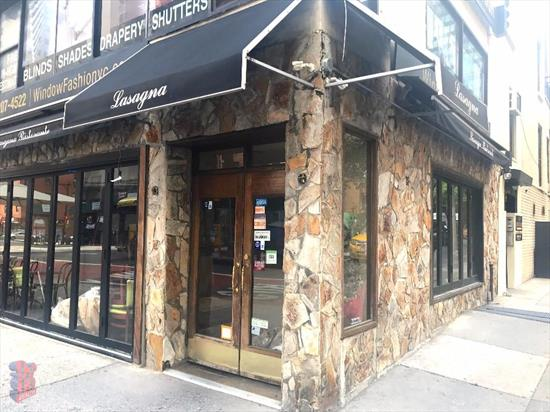 Great vented corner space with liquor license! 1, 400 sq. ft. plus basement with over 82 ft. of combined frontage! Food OK, Neighbors include The Smith & DeGrezia.  Located within Midtown East, the apartment is near great shopping and restaurants, including Bloomingdales and Hide-chan Ramen. Short walk to public transportation including the 6, E, & M subway lines in addition to the M15 Selectbus Service.  Please call 917-261-6561 for more information or to schedule a viewing.