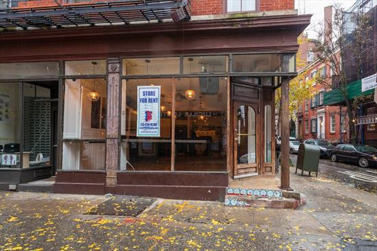 Approx 750 sq ft on the corner of Bedford and Christopher St in prime West Village. 16 ft of frontage on Christopher St and another 56 ft on Bedford Street. Restaurant with 9.5 ft ceilings, 2 bathrooms, full kitchen, ansul system and basement with direct access and street hatch.  Neighbors include Moustache Pitza, The Warren and Rag & Bone. Down the street from the 1 & PATH trains, and around the corner from the M20 bus.  Please call 917-261-6561 for more information or to schedule a viewing.