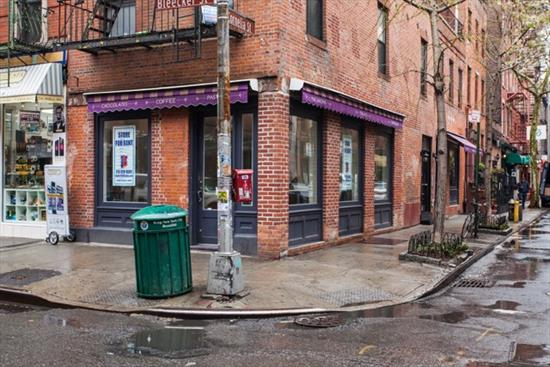 Classic, Corner Location! Bleecker & Cornelia. Space includes 18ft of frontage on Bleecker St and additional frontage on Cornelia St. Turnkey cafe, large main floor with direct access to basement and includes HVAC and refrigeration.   Great Foot & Tourist Traffic. Neighbors include Tacombi, Murray's Cheese, & John Pizzeria.  **Corner space only. Can be combined with in-line space for $23, 995.00**  Please call 917-261-6561 for more information or to schedule a viewing.