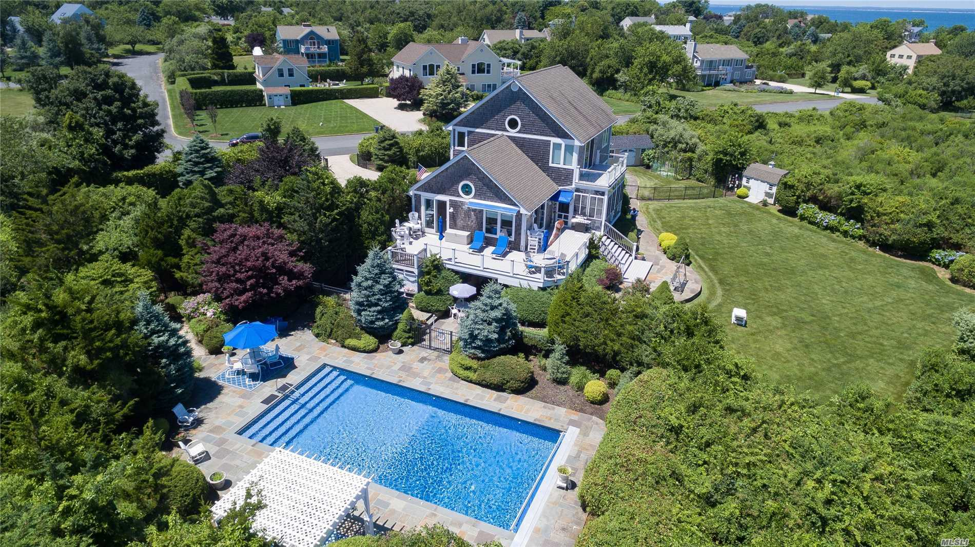 Stunning Sweeping Views Of Long Island Sound To Connecticut Including The Coffee Pot Light House Off Orient Point. This Home Adjoins Preserved Property Which Offers Forever Water-Views, Nature Trails And Beautiful Beachfront. This Shingled Style Home Was Built In 2002 Offering A Spacious Yard With In-Ground Pool, Patio And Cabana. Great Home For Entertaining.