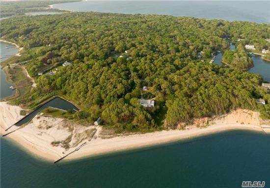 Grand 1920S Bayfront Compound W/ 8 Beds, 5.5 Baths On 15.24 Acres. 1, 000Ft Of Beach Frontage, Boat Basin On The Bay, Bathhouse On The Beach, 3-Bed/2-Bath Cottage, 3-Car Garage, And Clay Tennis Court. Includes A Waterfront Lot On Wunneweta Pond In Harbor Cove Association W/ Beach & Docking; 39Ft Of Bulkhead And 78Ft Of Natural Water Frontage.