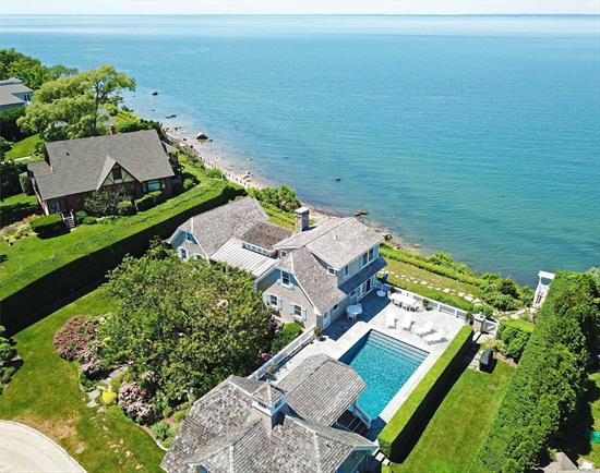 Simply Exquisite Pristine Nantucket Style Waterfront Compound Adorns Bluffs Sitting High Above Li Sound. The Chic Main House With Gourmet Kitchen And Double Sided Fireplace And Separate Pool House Are Built Around The Common Outdoor Recreational Areas, Gunite Heated Pool,  Blue Stone Patio, , Bar-B-Que, And Staircase Leading To 148 Of Beachfront.