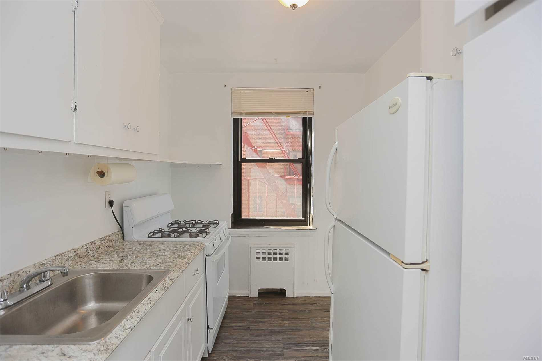 Spacious 1 Bedroom Coop In East Elmhurst. This Apt Feat A Windowed Kitchen And A Spacious Bedroom And Living Room W.Large Windows. This Sought After Development Features Laundry And Management On Site. Retail Shops, Restaurants, Grocery, Entertainment On Northern Blvd, 1 Block Up. Q66 Bus Line To Queens Plaza