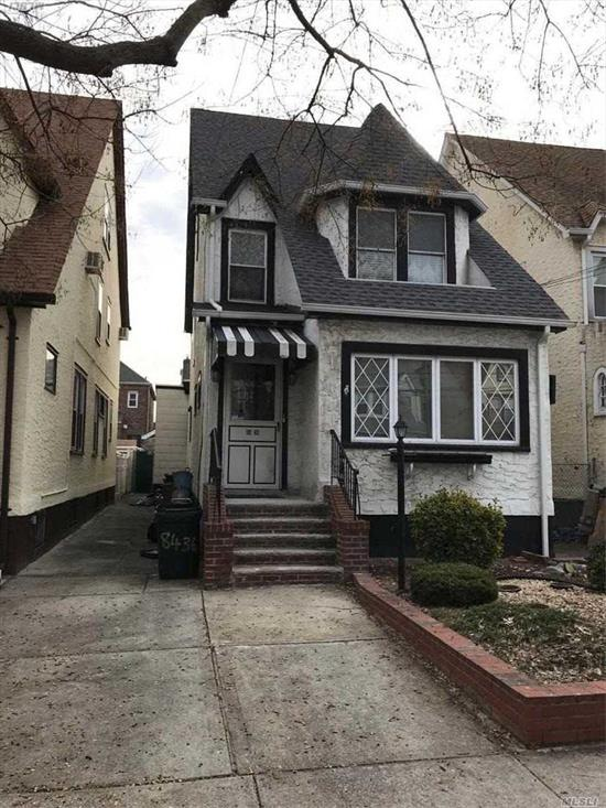 Legal 2 Family, Colonial, built in 1936 25 X 100  Sewers, Gas Steam Heating,  Close To Transportation, Mall, Residential Block, Apartment Vacant, Good Income Possibility, Separate Gas & Elec Meters, Private Rear Yard, Property Sold In As Is Condition. With No Warranties At Closing.