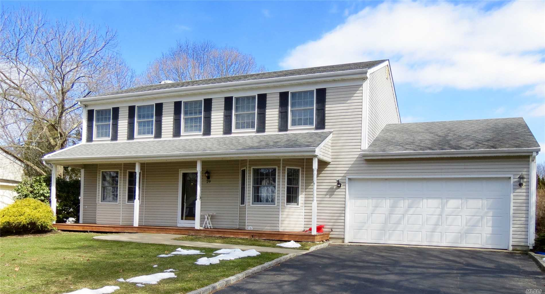 Beautiful Spacious Colonial! Four Bedrooms, Eik, Frml Dr, Fmly Rm W/ Fpl, Lrm W/ Pellet Stove, 2 1/2 Bath, Oak Floors Throughout! Security System! Professionally Landscaped W/Fenced In Backyard W/ Patio Pavers, Inground Pool 6' No Diving Board & Separate Hot Tub! Shoreham Wading River Schools! Desirable Neighborhood! Move In Condition! Conveniently Located To Everything!