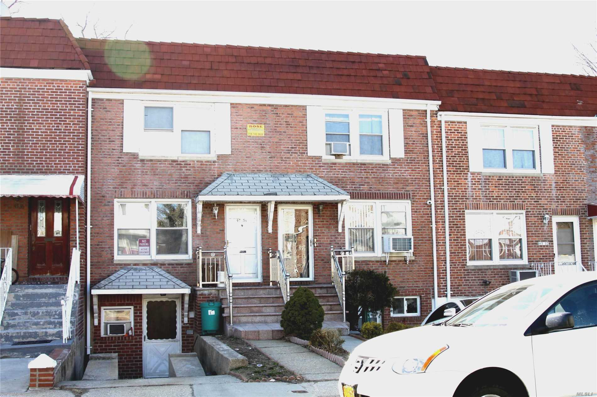 R3-2 Zoning(2 Family Zoning) Currently 1 Family Brick Att Townhouse, Basement Has Permit,  Legal To Have People Live At Basement . New Roof, Boiler, Bayside School Area. School District #26. Bus Stops Right On Northern Blvd.