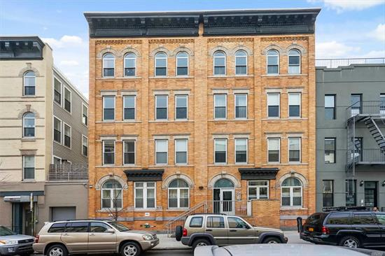 2 Bedroom, 1 Bath, Private Yard, Deeded Parking Space & Storage Space, Pet Friendly, Fitness Facility, 2 Furnished Roof Decks, Virtual Attendant, Central Ac & Heat, Walk-In Closet In Master Bedrm, Wood Flrs, Fios Cable, Dishwasher, Washer/Dryer Hookup, 2 Blocks To M & L Trains,  Sale May Be Subject To Term & Conditions Of An Offering Plan