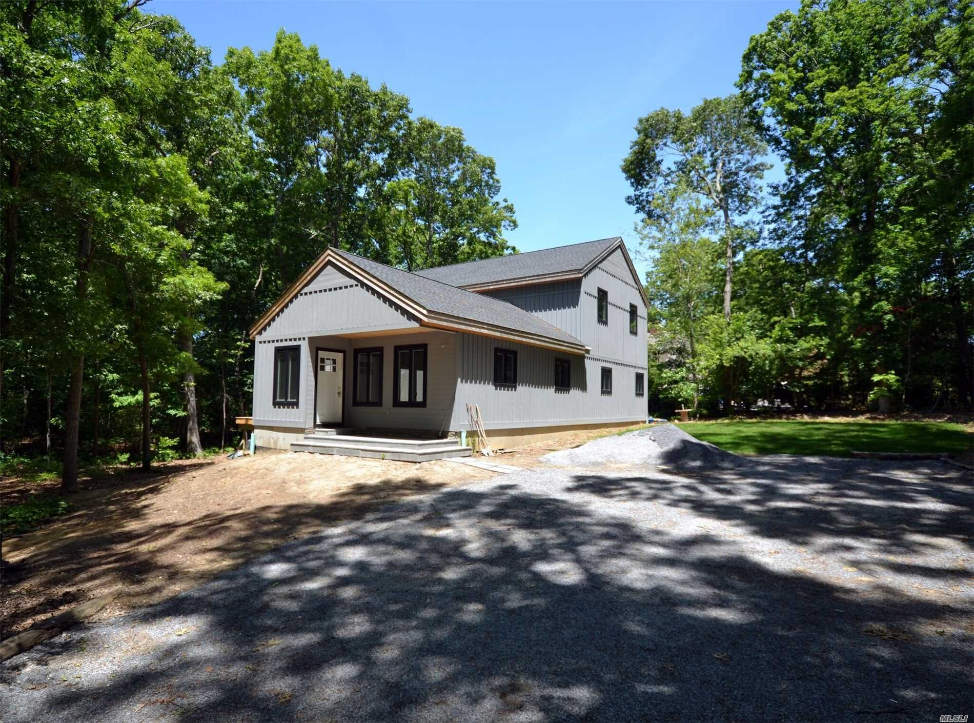 Modern Rustic Contemporary. 3000+ Sq. Ft. New Construction! Private 2.49 Acres Country Wooded Setting . Birdwatchers Paradise. Nature Lovers Setting. Step Away From The Whirlwind And Rewind In Your Modern Retreat..Wooded Sanctuary. Large Master Br With 2 Spacious Walk In Closets. Close To Beaches, Golf, Wineries, Vineyards, Boating And Fabulous North Fork Restaurants.