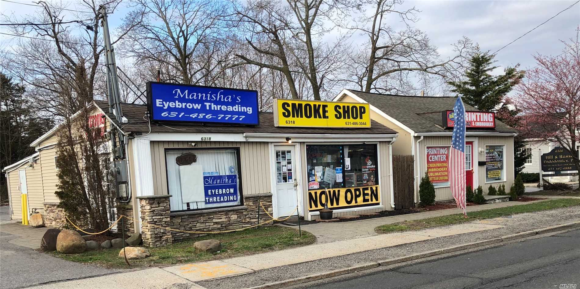 There's A Smoke , Shop , Salon , Tee Shirt, Printer , Embroidering .One Block From Commack Corners Could Knock Down Put Up Larger Building High Trafic Area.