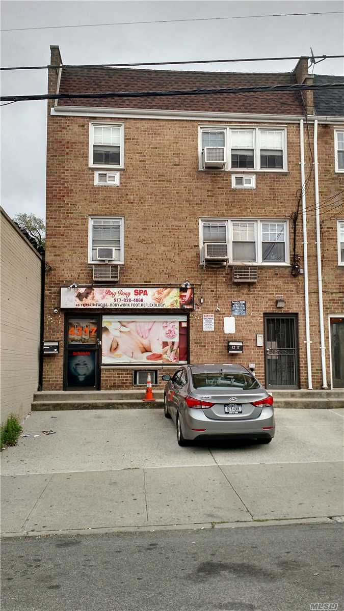 Brick 3 F With Front Commercial Space. Renovated 1 Bd In Back, Renovated 3 Bds, New Kitchen & Baths On Top Floor, New Wood Floors, Separate Entrance To Large Basement, 5 Electric Meters. New Boiler, Walk To Lirr And Shopping, 3 Parking Spots In Front Of Building.